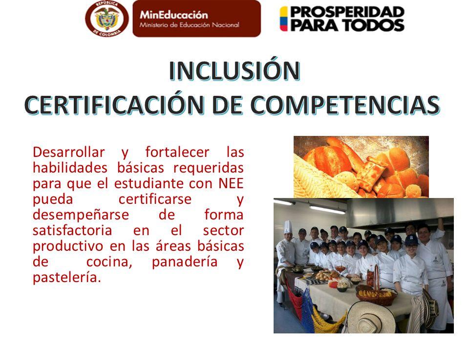 Desarrollar y fortalecer las habilidades básicas requeridas para que el estudiante con NEE pueda certificarse y desempeñarse de forma satisfactoria en el sector productivo en las áreas básicas de cocina, panadería y pastelería.