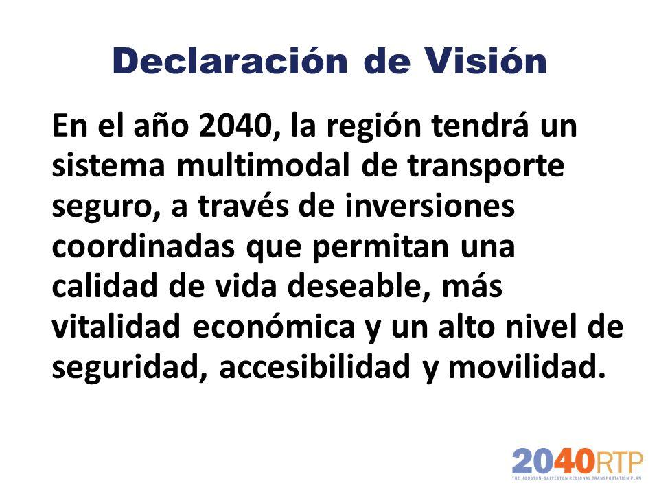 Declaración de Visión En el año 2040, la región tendrá un sistema multimodal de transporte seguro, a través de inversiones coordinadas que permitan un
