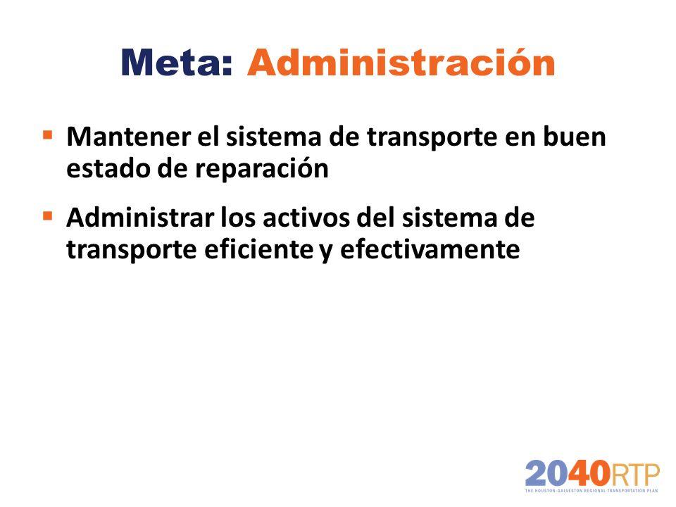 Meta: Administración Mantener el sistema de transporte en buen estado de reparación Administrar los activos del sistema de transporte eficiente y efec
