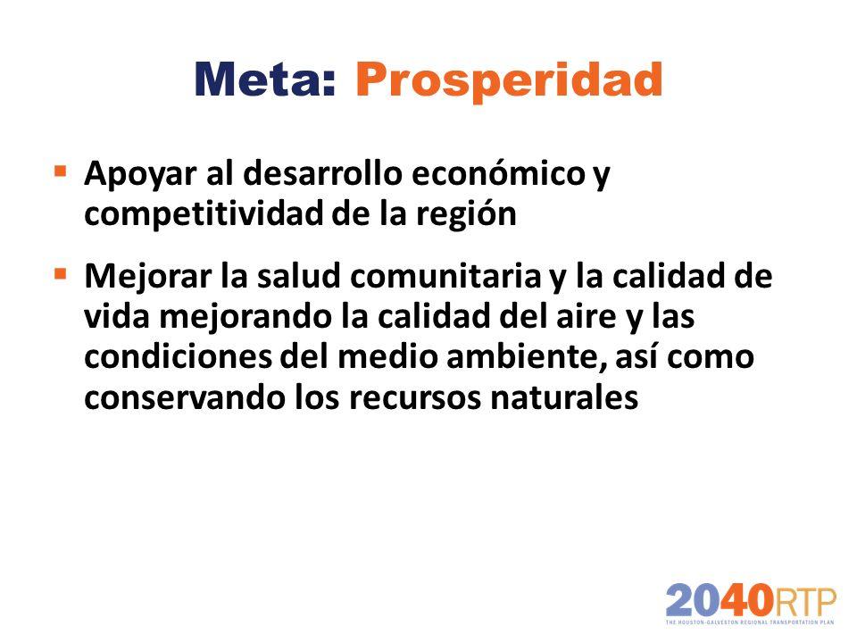 Meta: Prosperidad Apoyar al desarrollo económico y competitividad de la región Mejorar la salud comunitaria y la calidad de vida mejorando la calidad