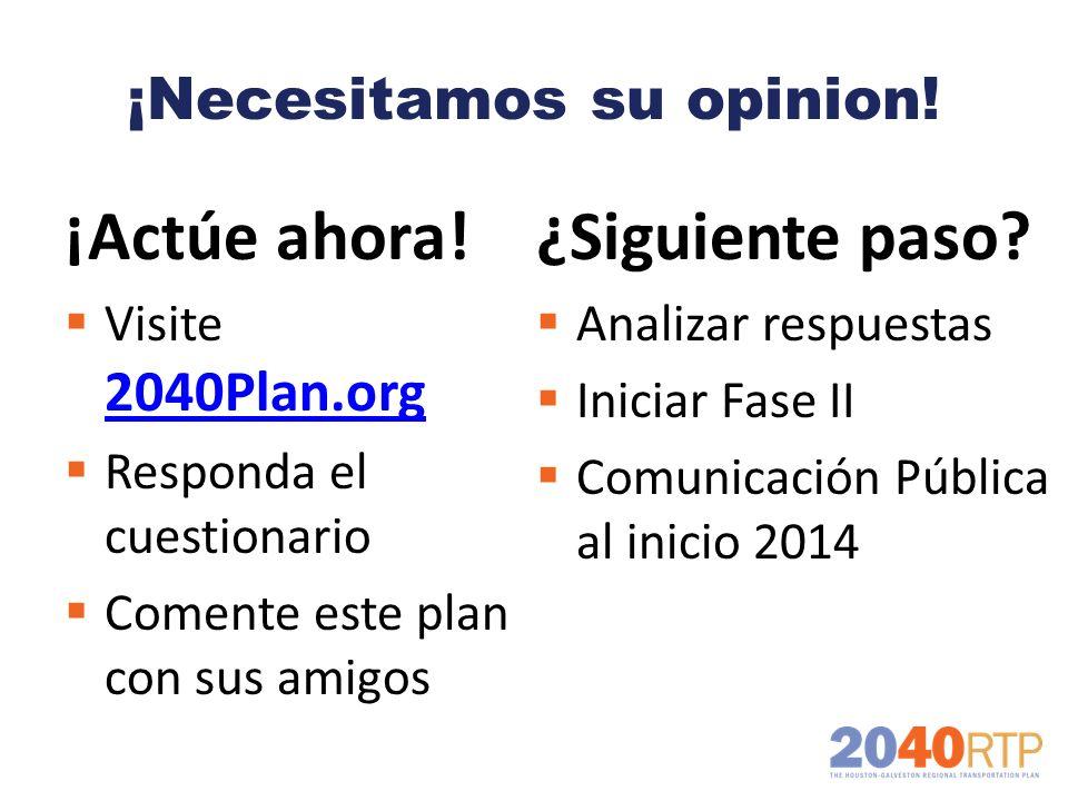 ¡Necesitamos su opinion! ¡Actúe ahora! Visite 2040Plan.org 2040Plan.org Responda el cuestionario Comente este plan con sus amigos ¿Siguiente paso? Ana