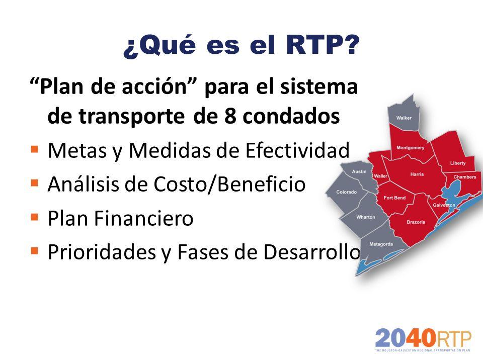 ¿Qué es el RTP? Plan de acción para el sistema de transporte de 8 condados Metas y Medidas de Efectividad Análisis de Costo/Beneficio Plan Financiero