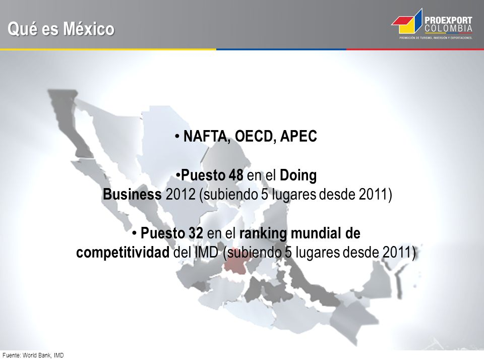Qué es México Fuente: World Bank, IMD NAFTA, OECD, APEC Puesto 48 en el Doing Business 2012 (subiendo 5 lugares desde 2011) Puesto 32 en el ranking mundial de competitividad del IMD (subiendo 5 lugares desde 2011)