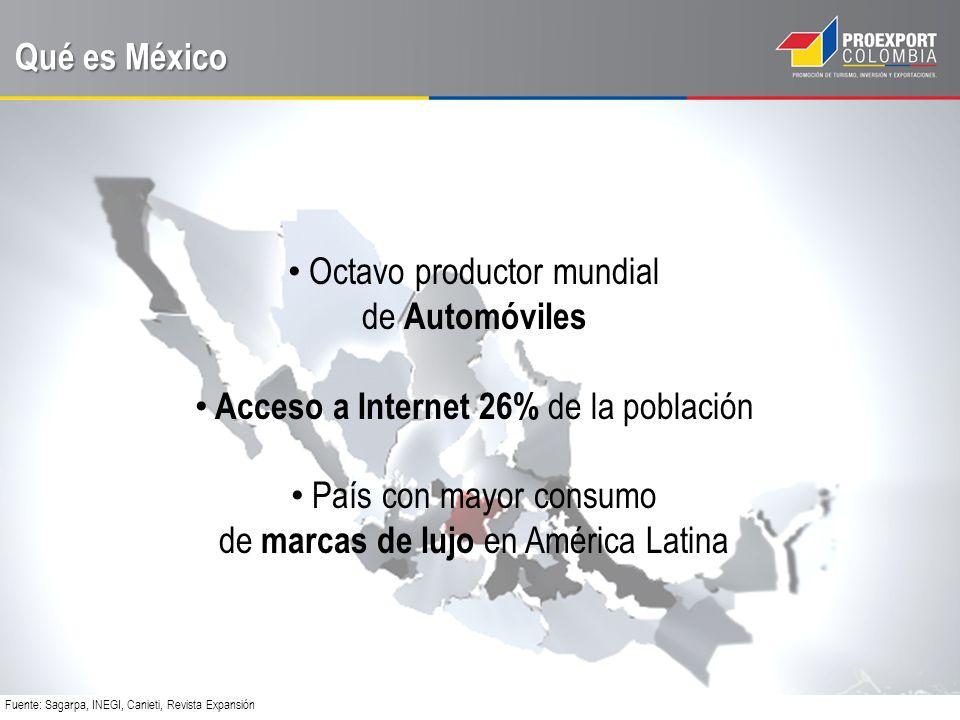 Qué es México Octavo productor mundial de Automóviles Acceso a Internet 26% de la población País con mayor consumo de marcas de lujo en América Latina Fuente: Sagarpa, INEGI, Canieti, Revista Expansión