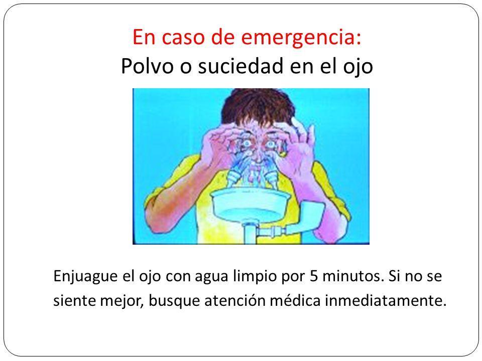 En caso de emergencia: Polvo o suciedad en el ojo Enjuague el ojo con agua limpio por 5 minutos. Si no se siente mejor, busque atención médica inmedia