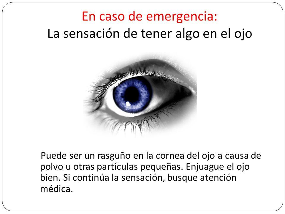 En caso de emergencia: La sensación de tener algo en el ojo Puede ser un rasguño en la cornea del ojo a causa de polvo u otras partículas pequeñas. En