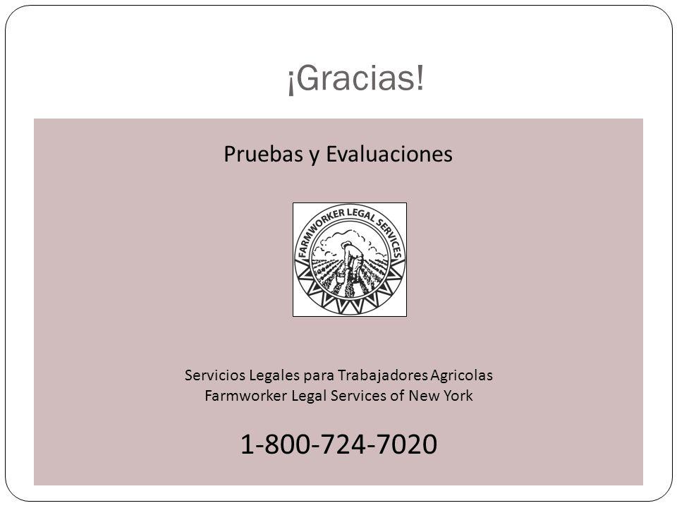 ¡Gracias! Pruebas y Evaluaciones Servicios Legales para Trabajadores Agricolas Farmworker Legal Services of New York 1-800-724-7020