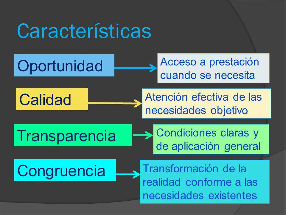 Características Oportunidad Acceso a prestación cuando se necesita Calidad Transparencia Congruencia Atención efectiva de las necesidades objetivo Con