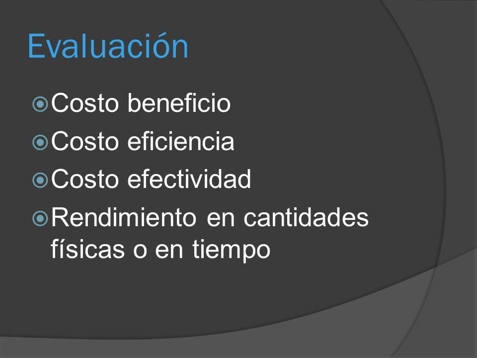 Evaluación Costo beneficio Costo eficiencia Costo efectividad Rendimiento en cantidades físicas o en tiempo