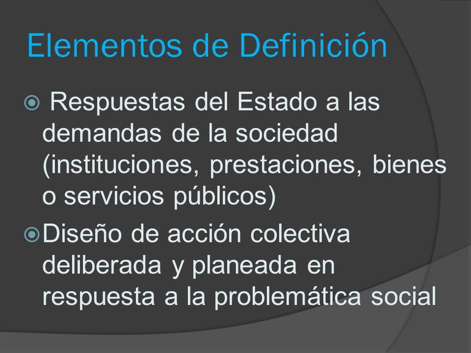 Elementos de Definición Respuestas del Estado a las demandas de la sociedad (instituciones, prestaciones, bienes o servicios públicos) Diseño de acció