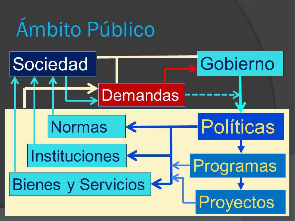 Ámbito Público Sociedad Gobierno Políticas Demandas Normas Instituciones Bienes y Servicios Programas Proyectos