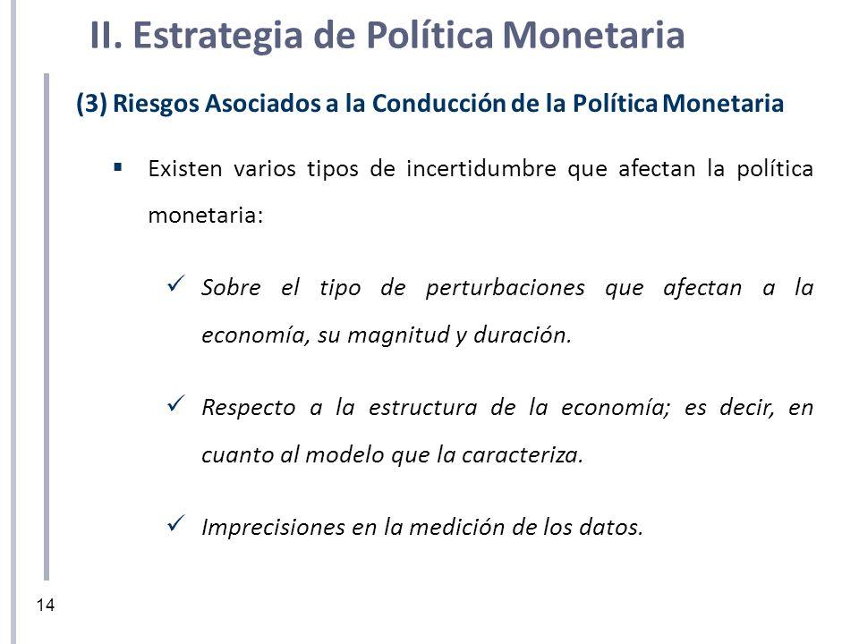 (3) Riesgos Asociados a la Conducción de la Política Monetaria Existen varios tipos de incertidumbre que afectan la política monetaria: Sobre el tipo
