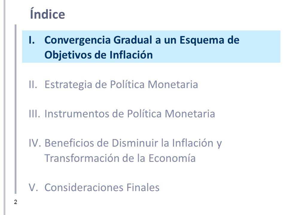 2 I.Convergencia Gradual a un Esquema de Objetivos de Inflación II.Estrategia de Política Monetaria III.Instrumentos de Política Monetaria IV.Benefici