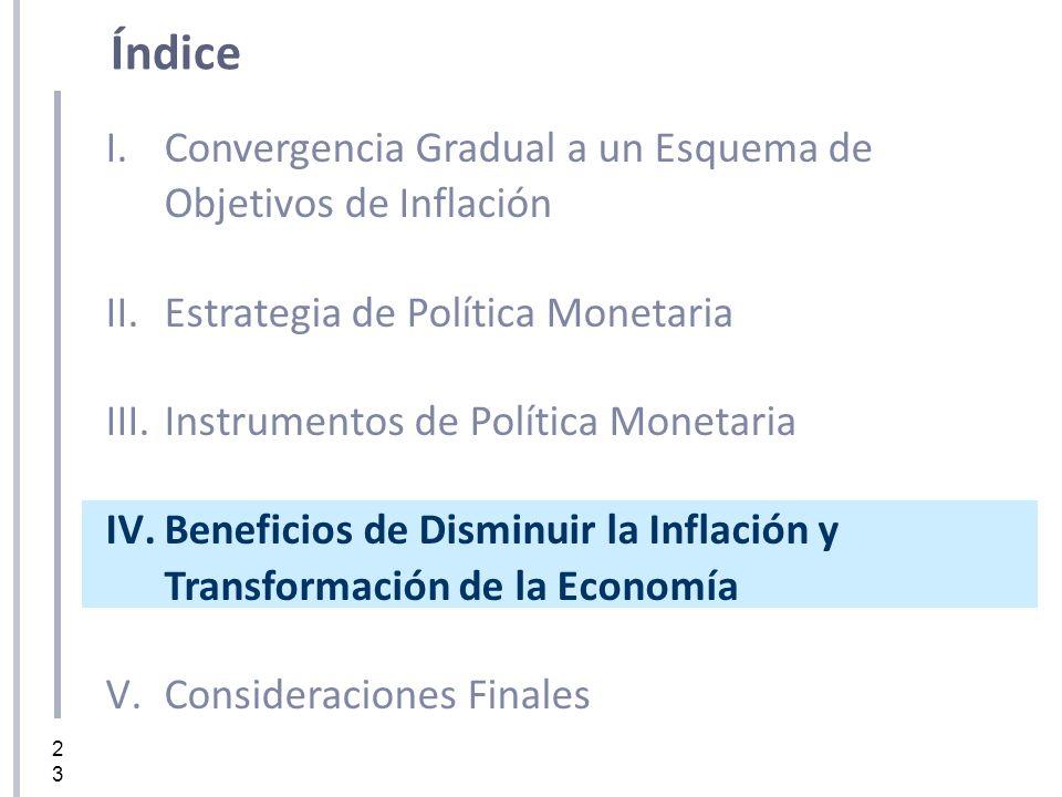 23 I.Convergencia Gradual a un Esquema de Objetivos de Inflación II.Estrategia de Política Monetaria III.Instrumentos de Política Monetaria IV.Benefic