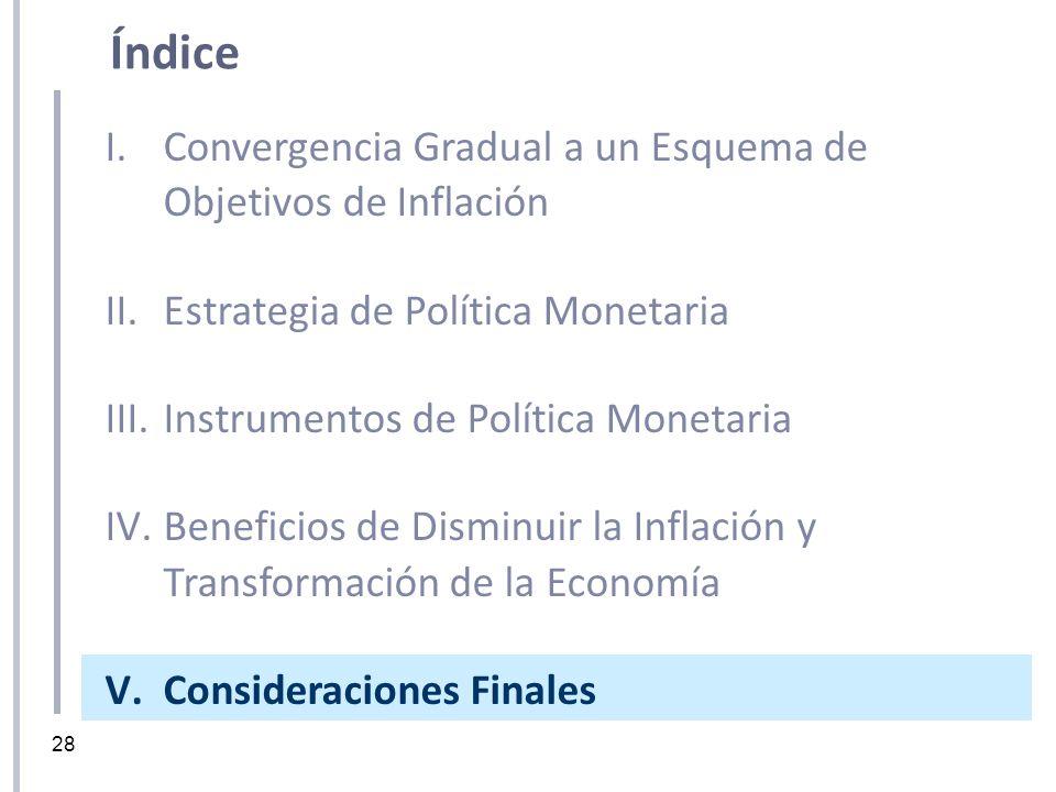 28 I.Convergencia Gradual a un Esquema de Objetivos de Inflación II.Estrategia de Política Monetaria III.Instrumentos de Política Monetaria IV.Benefic