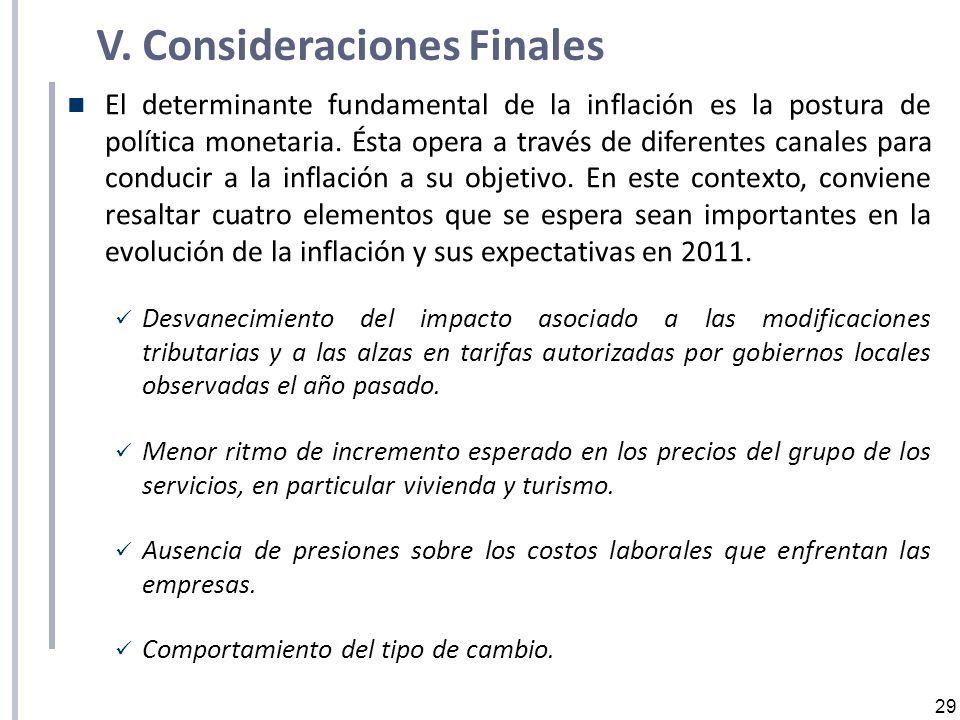 29 V. Consideraciones Finales El determinante fundamental de la inflación es la postura de política monetaria. Ésta opera a través de diferentes canal