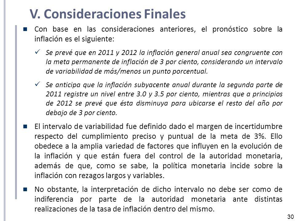 30 V. Consideraciones Finales Con base en las consideraciones anteriores, el pronóstico sobre la inflación es el siguiente: Se prevé que en 2011 y 201