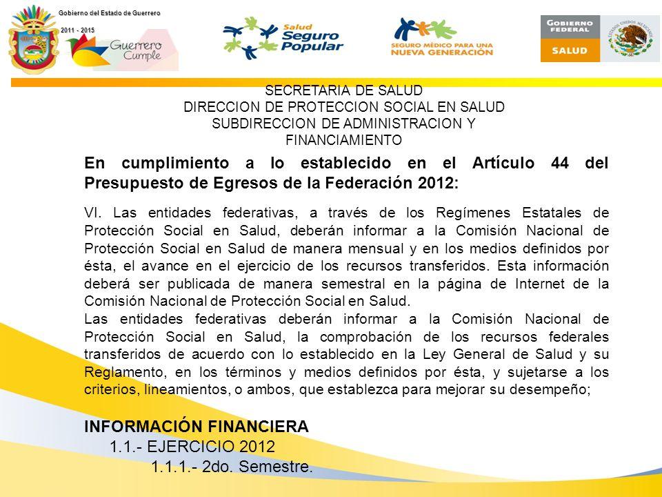 Secretaría de Salud Dirección de Protección Social en Salud En cumplimiento a lo establecido en el Artículo 44 del Presupuesto de Egresos de la Federación 2012: VI.