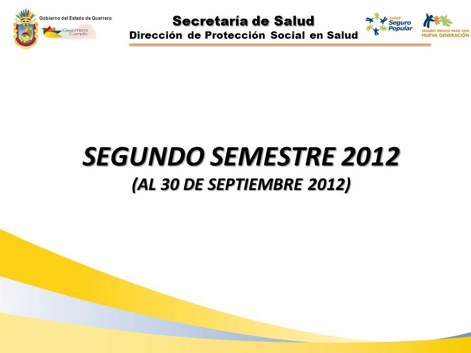 Secretaría de Salud Dirección de Protección Social en Salud SEGUNDO SEMESTRE 2012 (AL 30 DE SEPTIEMBRE 2012) Gobierno del Estado de Guerrero
