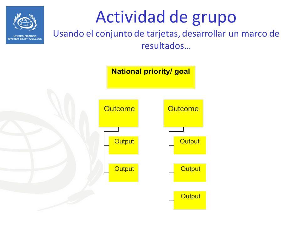 Actividad de grupo Usando el conjunto de tarjetas, desarrollar un marco de resultados…