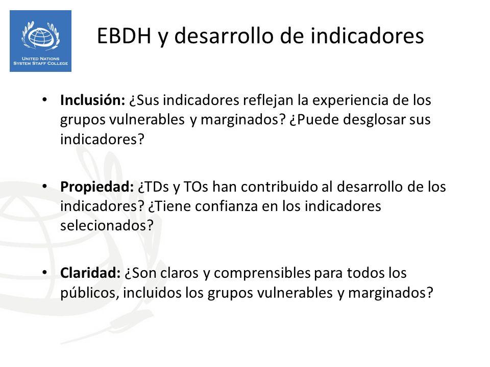 EBDH y desarrollo de indicadores Inclusión: ¿Sus indicadores reflejan la experiencia de los grupos vulnerables y marginados.