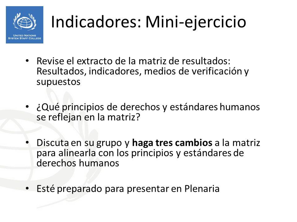 Indicadores: Mini-ejercicio Revise el extracto de la matriz de resultados: Resultados, indicadores, medios de verificación y supuestos ¿Qué principios de derechos y estándares humanos se reflejan en la matriz.