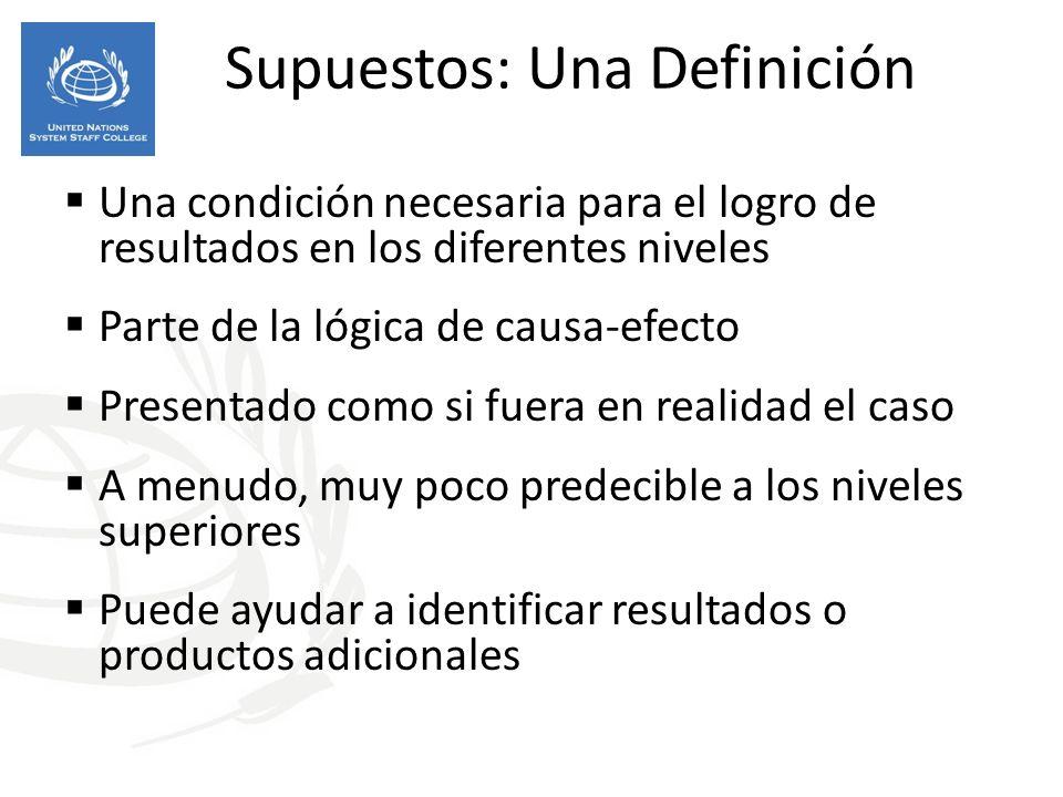 Supuestos: Una Definición Una condición necesaria para el logro de resultados en los diferentes niveles Parte de la lógica de causa-efecto Presentado como si fuera en realidad el caso A menudo, muy poco predecible a los niveles superiores Puede ayudar a identificar resultados o productos adicionales