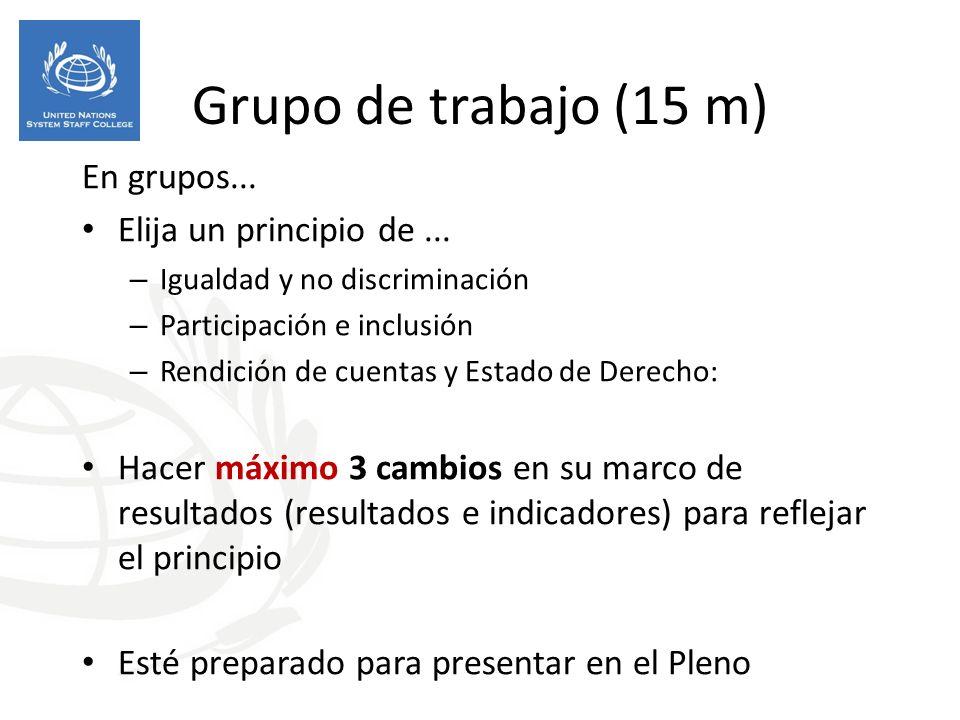 Grupo de trabajo (15 m) En grupos...Elija un principio de...