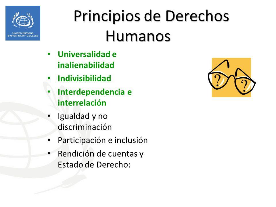 Principios de Derechos Humanos Principios de Derechos Humanos Universalidad e inalienabilidad Indivisibilidad Interdependencia e interrelación Igualdad y no discriminación Participación e inclusión Rendición de cuentas y Estado de Derecho: