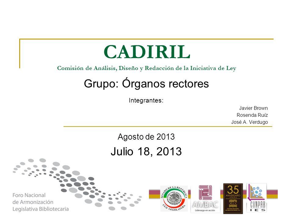 CADIRIL Comisión de Análisis, Diseño y Redacción de la Iniciativa de Ley Grupo: Órganos rectores Integrantes: Javier Brown Rosenda Ruíz José A. Verdug