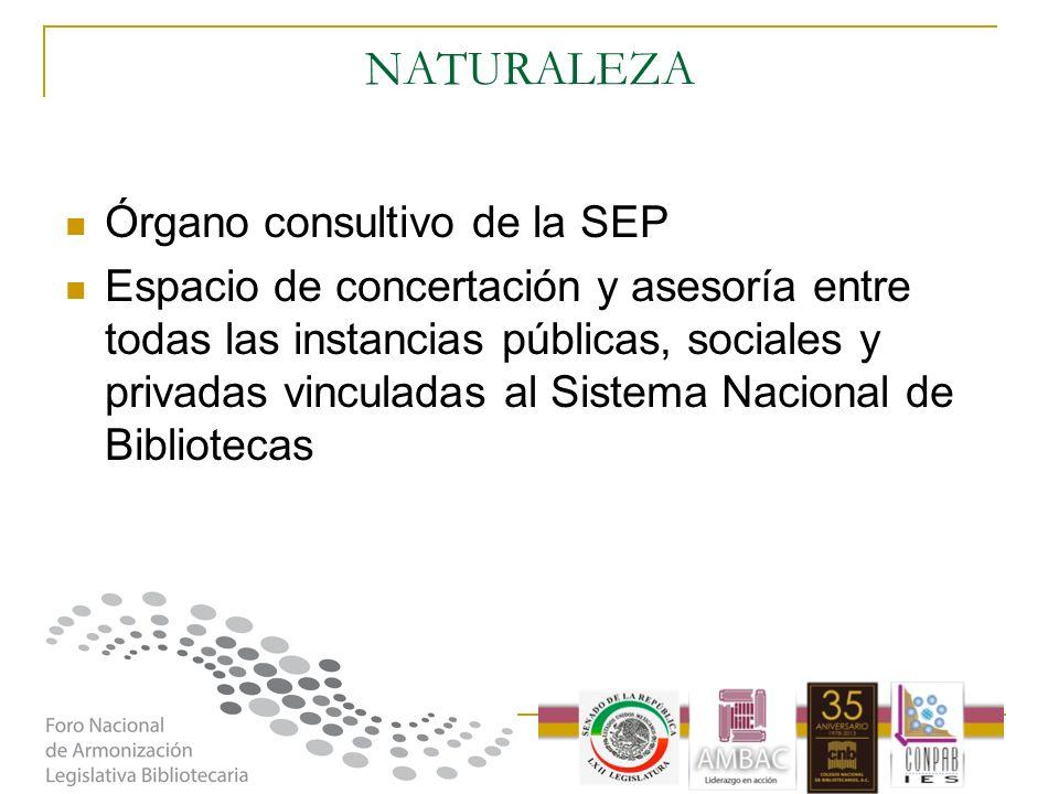 NATURALEZA Órgano consultivo de la SEP Espacio de concertación y asesoría entre todas las instancias públicas, sociales y privadas vinculadas al Siste