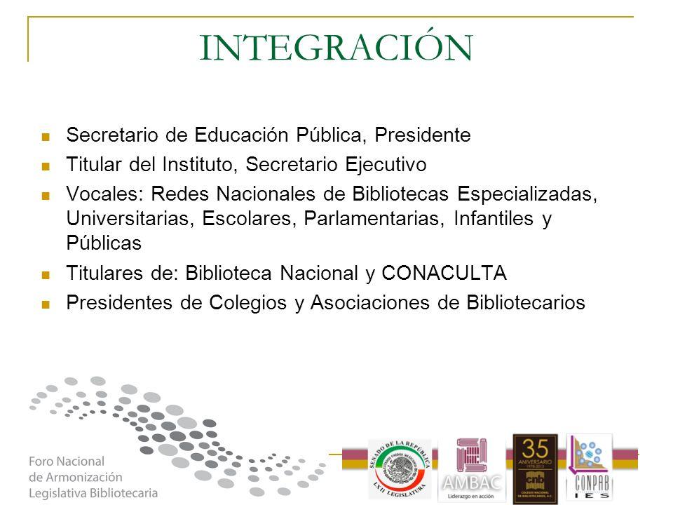 INTEGRACIÓN Secretario de Educación Pública, Presidente Titular del Instituto, Secretario Ejecutivo Vocales: Redes Nacionales de Bibliotecas Especiali