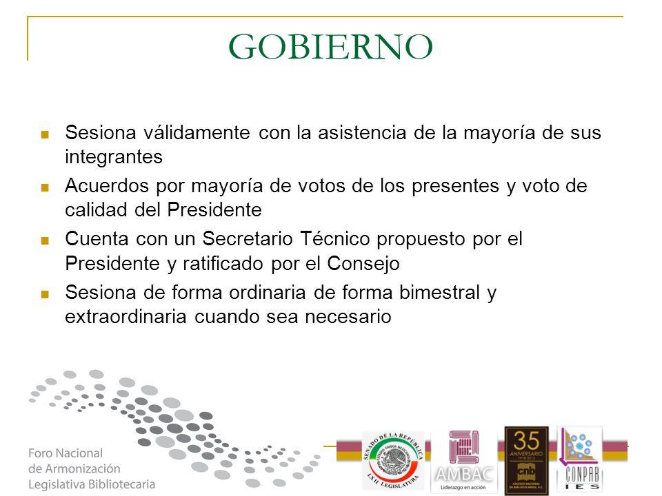 GOBIERNO Sesiona válidamente con la asistencia de la mayoría de sus integrantes Acuerdos por mayoría de votos de los presentes y voto de calidad del P