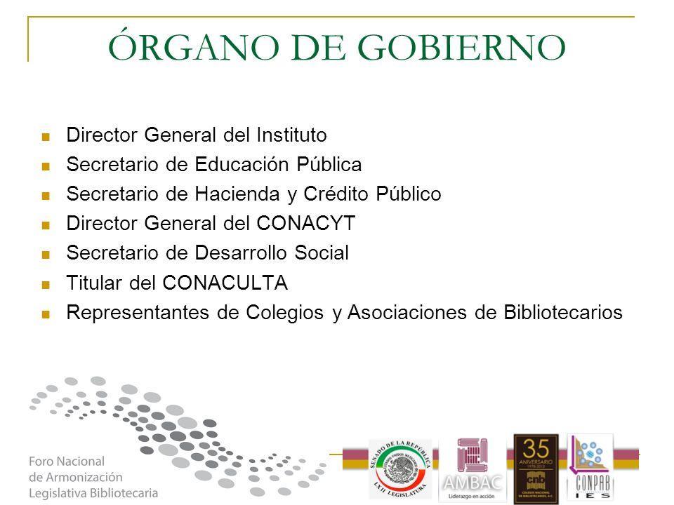 ÓRGANO DE GOBIERNO Director General del Instituto Secretario de Educación Pública Secretario de Hacienda y Crédito Público Director General del CONACY