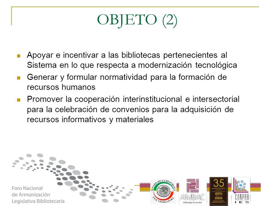 OBJETO (2) Apoyar e incentivar a las bibliotecas pertenecientes al Sistema en lo que respecta a modernización tecnológica Generar y formular normativi