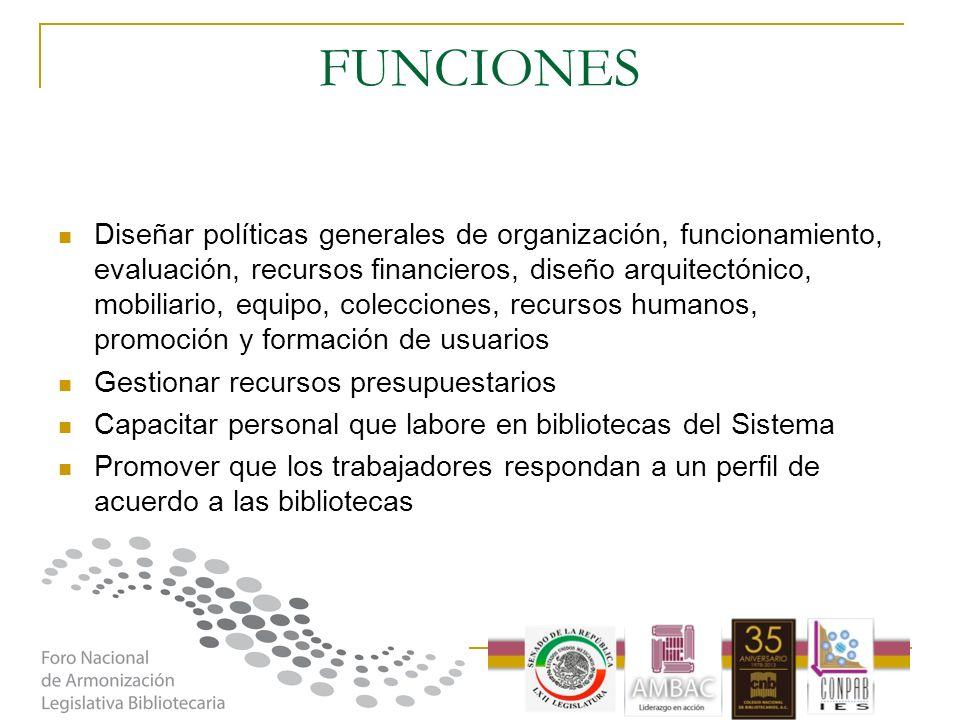 FUNCIONES Diseñar políticas generales de organización, funcionamiento, evaluación, recursos financieros, diseño arquitectónico, mobiliario, equipo, co