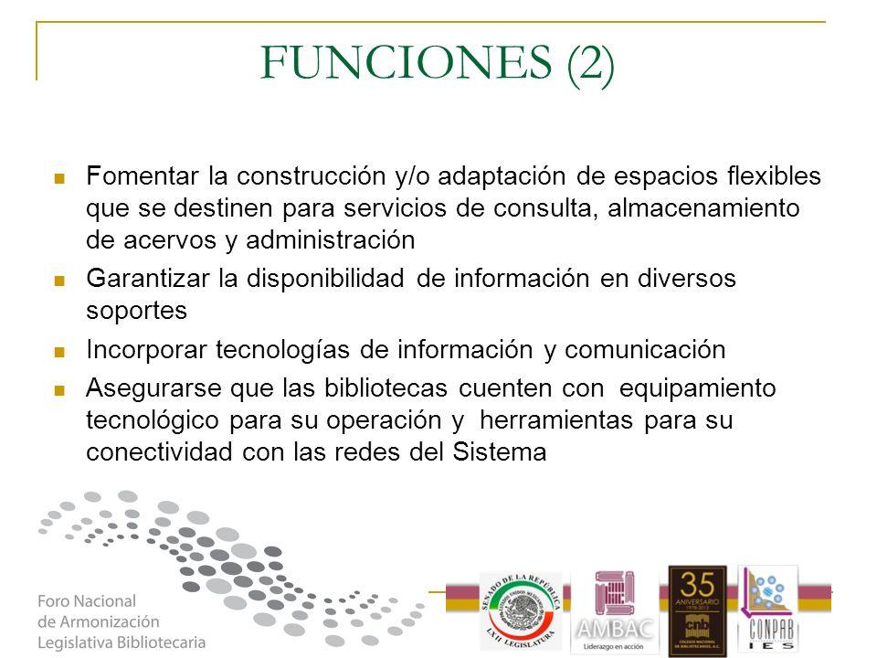 FUNCIONES (2) Fomentar la construcción y/o adaptación de espacios flexibles que se destinen para servicios de consulta, almacenamiento de acervos y ad