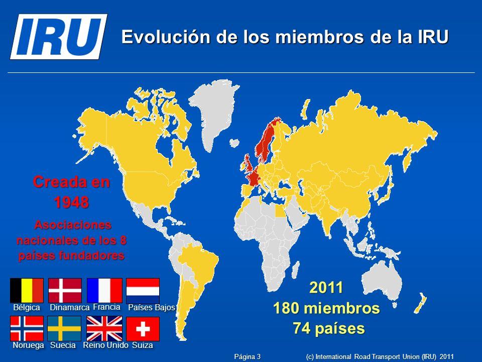 Evolución de los miembros de la IRU Creada en 1948 Asociaciones nacionales de los 8 países fundadores Asociaciones nacionales de los 8 países fundador