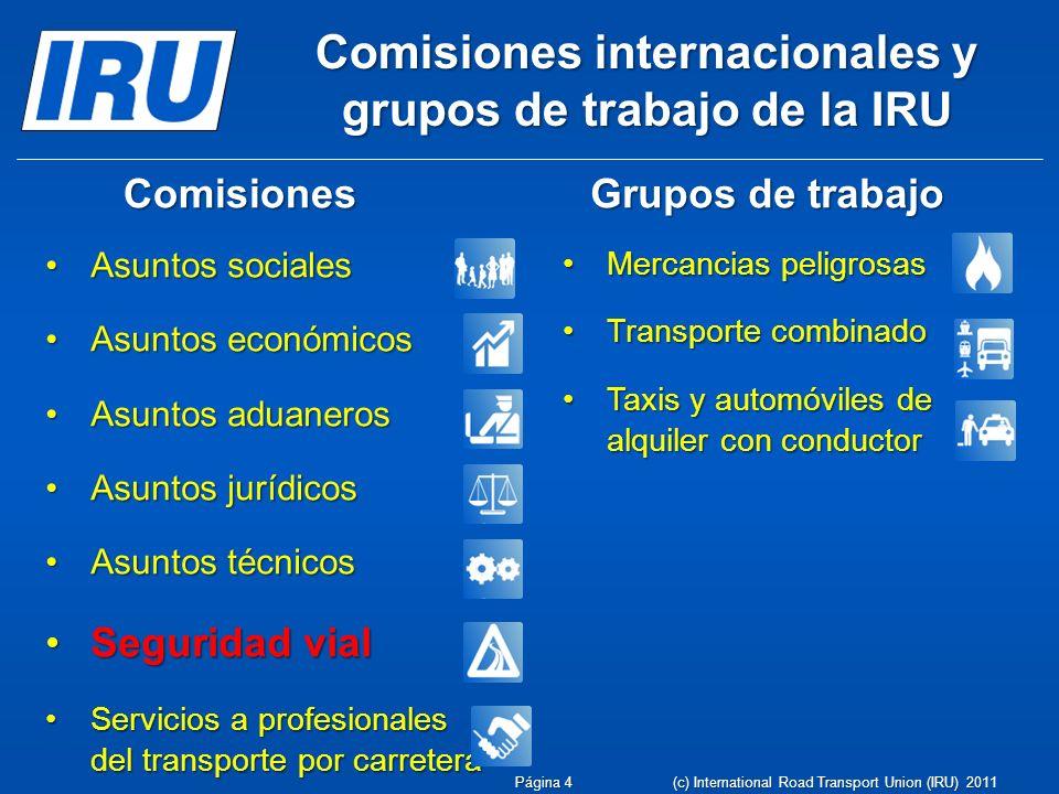 Comisiones internacionales y grupos de trabajo de la IRU Asuntos socialesAsuntos sociales Asuntos económicosAsuntos económicos Asuntos aduanerosAsunto