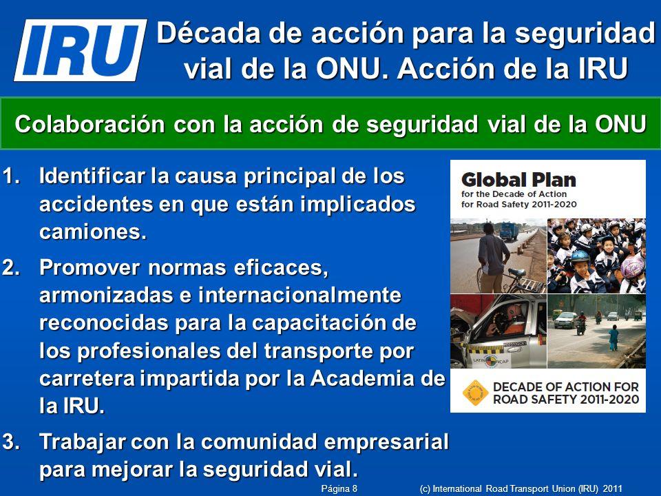 Década de acción para la seguridad vial de la ONU. Acción de la IRU 1.Identificar la causa principal de los accidentes en que están implicados camione