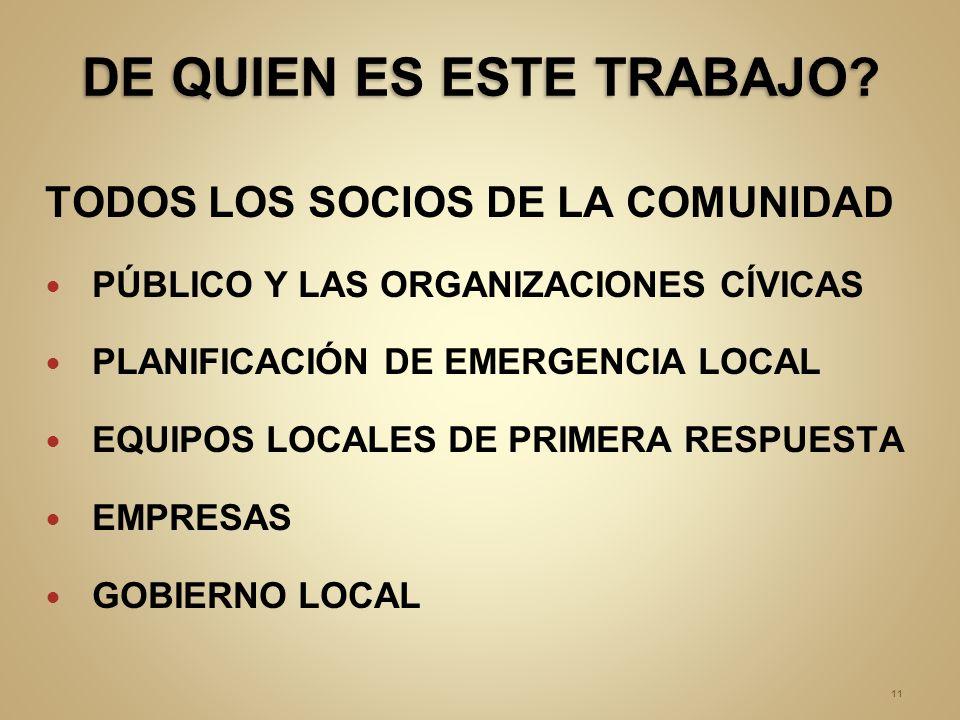 TODOS LOS SOCIOS DE LA COMUNIDAD PÚBLICO Y LAS ORGANIZACIONES CÍVICAS PLANIFICACIÓN DE EMERGENCIA LOCAL EQUIPOS LOCALES DE PRIMERA RESPUESTA EMPRESAS GOBIERNO LOCAL 11