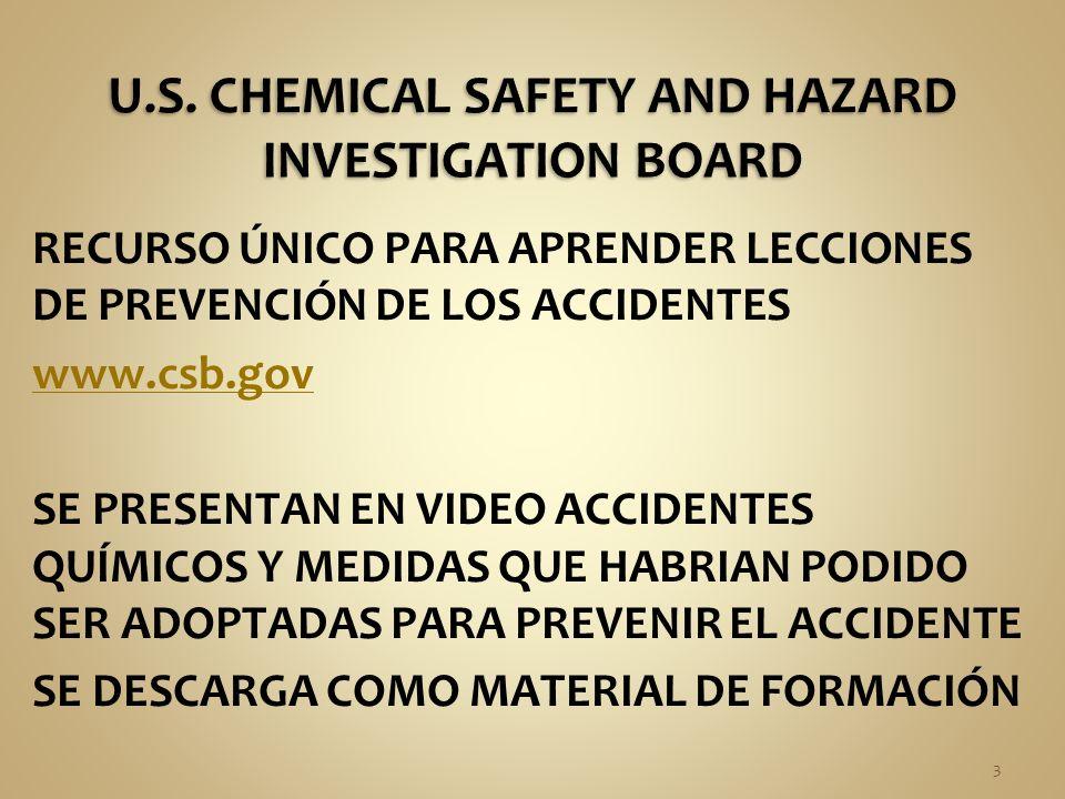RECURSO ÚNICO PARA APRENDER LECCIONES DE PREVENCIÓN DE LOS ACCIDENTES www.csb.gov SE PRESENTAN EN VIDEO ACCIDENTES QUÍMICOS Y MEDIDAS QUE HABRIAN PODIDO SER ADOPTADAS PARA PREVENIR EL ACCIDENTE SE DESCARGA COMO MATERIAL DE FORMACIÓN 3