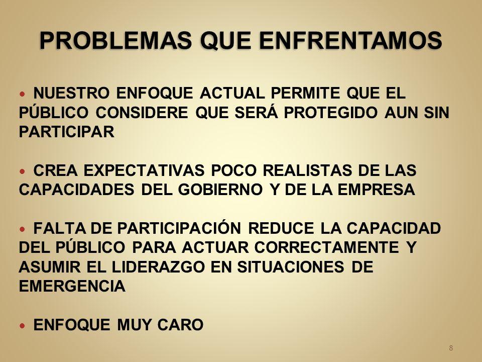 NUESTRO ENFOQUE ACTUAL PERMITE QUE EL PÚBLICO CONSIDERE QUE SERÁ PROTEGIDO AUN SIN PARTICIPAR CREA EXPECTATIVAS POCO REALISTAS DE LAS CAPACIDADES DEL GOBIERNO Y DE LA EMPRESA FALTA DE PARTICIPACIÓN REDUCE LA CAPACIDAD DEL PÚBLICO PARA ACTUAR CORRECTAMENTE Y ASUMIR EL LIDERAZGO EN SITUACIONES DE EMERGENCIA ENFOQUE MUY CARO 8