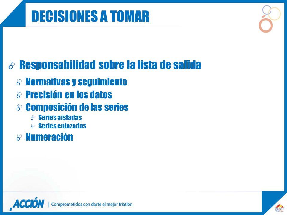 Responsabilidad sobre la lista de salida Normativas y seguimiento Precisión en los datos Composición de las series Series aisladas Series enlazadas Nu