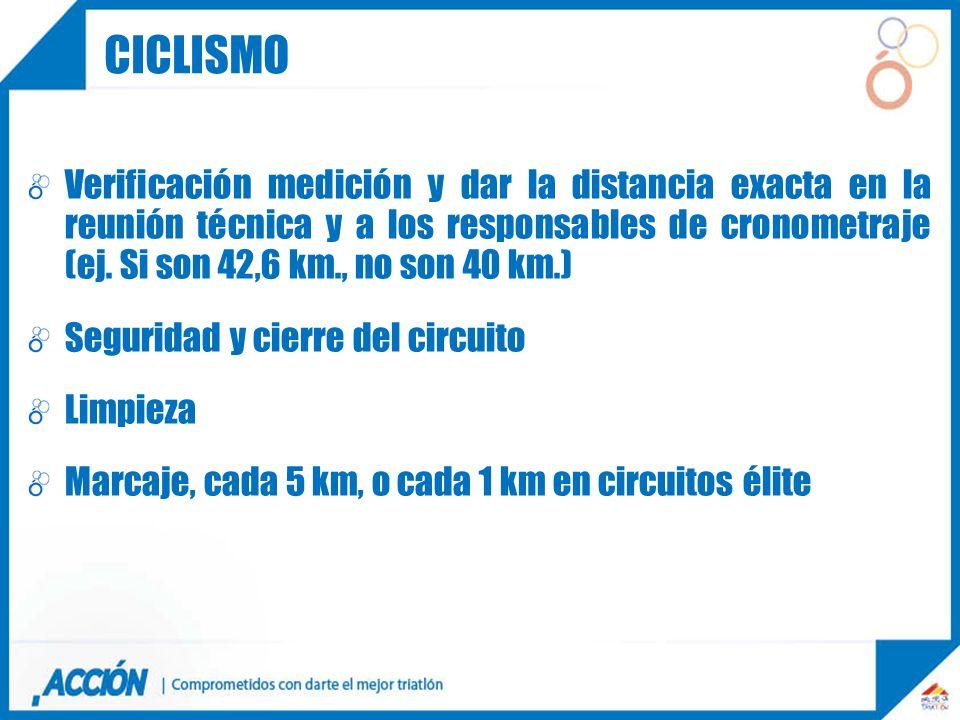 Verificación medición y dar la distancia exacta en la reunión técnica y a los responsables de cronometraje (ej. Si son 42,6 km., no son 40 km.) Seguri