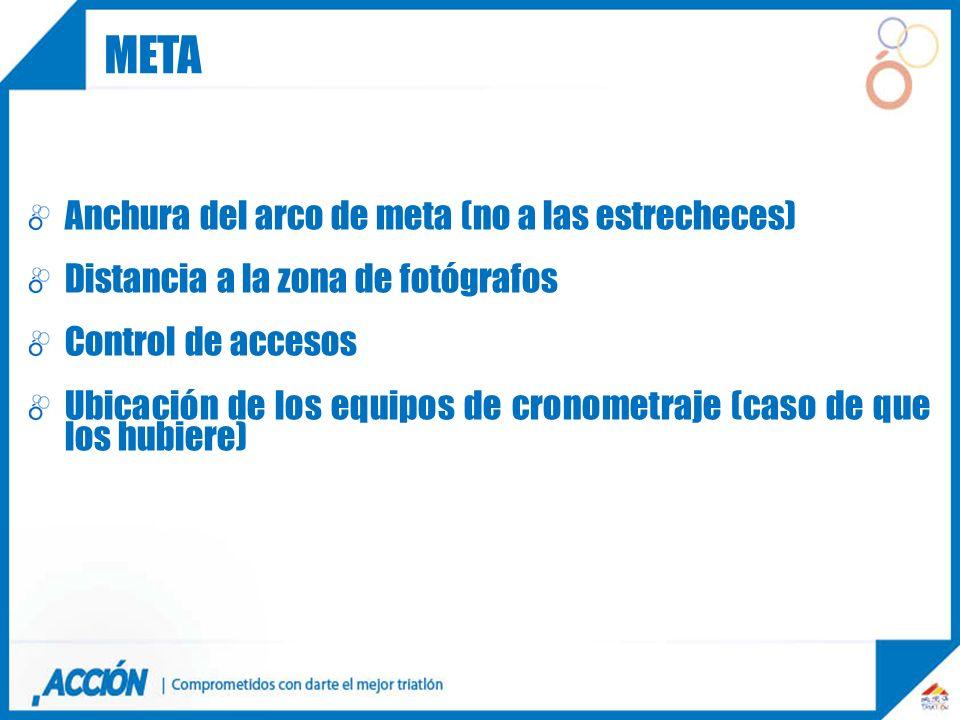 Anchura del arco de meta (no a las estrecheces) Distancia a la zona de fotógrafos Control de accesos Ubicación de los equipos de cronometraje (caso de
