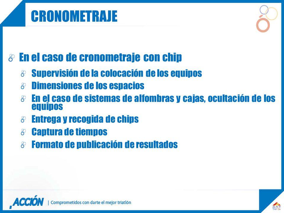 En el caso de cronometraje con chip Supervisión de la colocación de los equipos Dimensiones de los espacios En el caso de sistemas de alfombras y caja