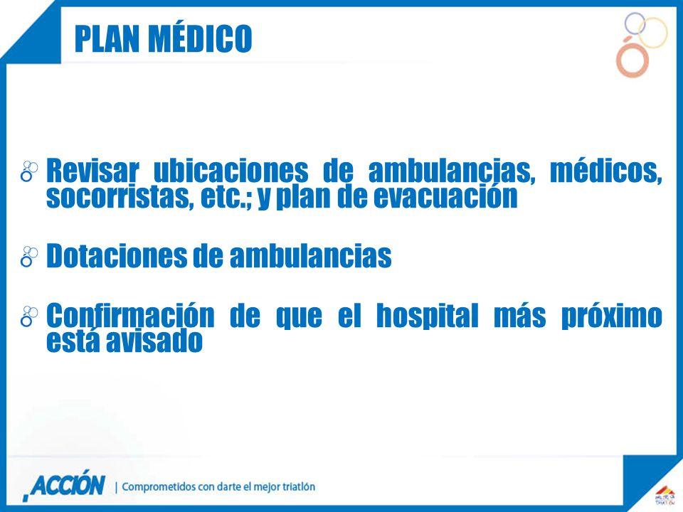 Revisar ubicaciones de ambulancias, médicos, socorristas, etc.; y plan de evacuación Dotaciones de ambulancias Confirmación de que el hospital más pró