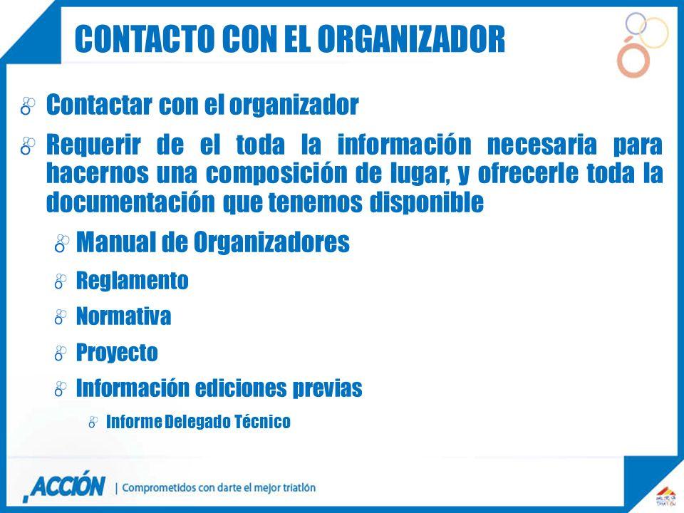 Contactar con el organizador Requerir de el toda la información necesaria para hacernos una composición de lugar, y ofrecerle toda la documentación qu