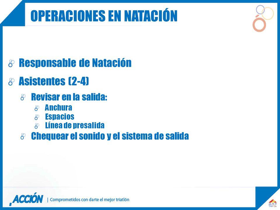 Responsable de Natación Asistentes (2-4) Revisar en la salida: Anchura Espacios Línea de presalida Chequear el sonido y el sistema de salida OPERACION